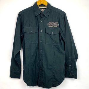Harley Davidson | Button Down Black Collared Shirt